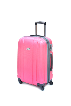 Pink luggage isolated on white background