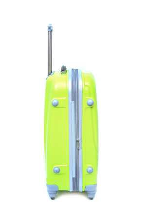 piece of luggage: Yellow-Green luggage isolated on white background