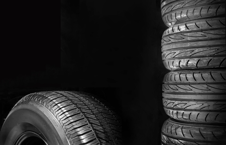 Car tires isolated on black background Stock Photo