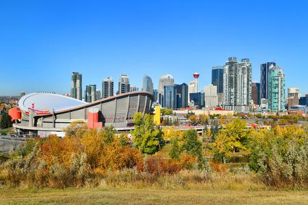ALBERTA,CANADA - SEPTEMBER 29, 2017: Beautiful Downtown Calgary skyline from scotsman's hill