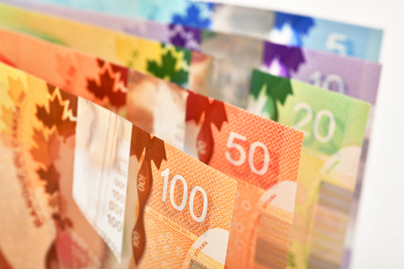 Background shot of Canadian banknotes, Canadian banknotes are the banknotes or bills of Canada