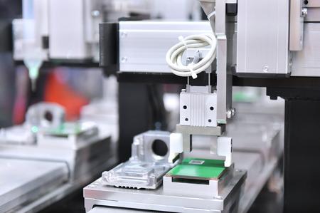 Elektronik-Leiterplattenfertigung im Maschinen- und Technikbereich Standard-Bild