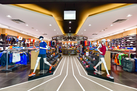 SINGAPORE -OCTOBER 1,2018: World of Sports shop in The Shoppes at Marina Bay Sands, Its is one of Singapores largest luxury s expensive brand shopping malls Sajtókép