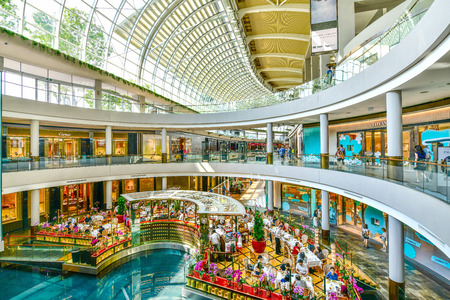 SINGAPORE -OCTOBER 1,2018: The Shoppes at Marina Bay Sands, Its is one of Singapores largest luxury s expensive brand shopping malls Sajtókép