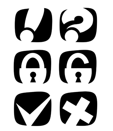 black and white icons for the Internet Illustration