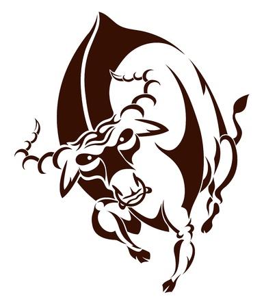 bullfighting: Aggressive big bull for the vector Illustration