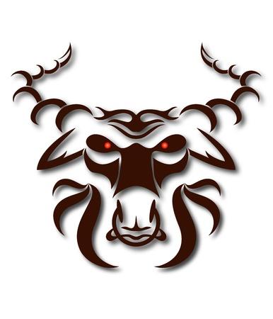 bullfighting: head of the evil buffalo for the vector