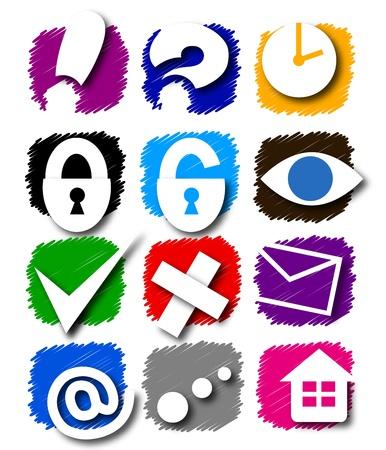 인터넷에 대 한 색이 지정된 아이콘 집합 일러스트