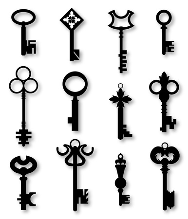 old keys: a set of door keys  Illustration