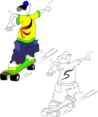illustration of a teenager on a skateboard Vector