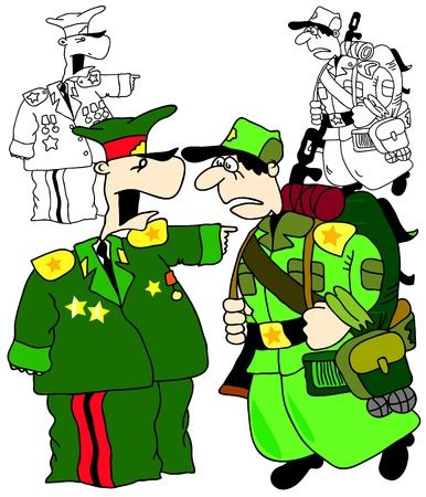 general: illustration of a soldier and general, cartoon and coloring