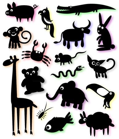 set van silhouetten van huisdieren en wilde dieren Vector Illustratie