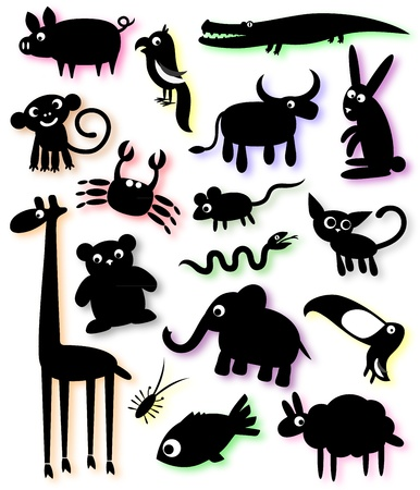 serpiente caricatura: un conjunto de siluetas de animales domésticos y salvajes