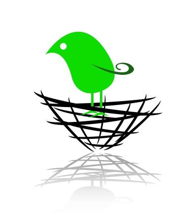 회사의 둥지에있는 새의 로고, 상징 일러스트