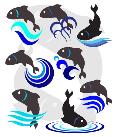 illustration of a fish, a set of fish for a logo