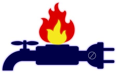 loodgieterswerk: Logo van technische diensten, gas, elektriciteit, water Stock Illustratie