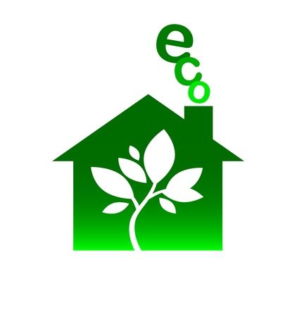 house and leaves, eco logo for business