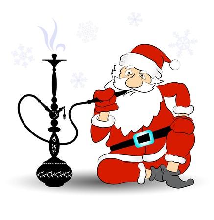 Papá fuma una pipa de agua, vector festivo con fumar pipa de agua y Papá Noel
