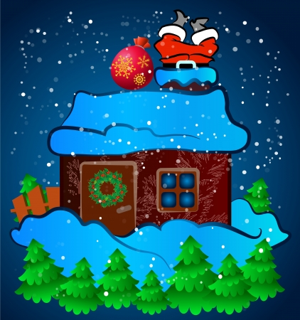 Santa Claus stuck in the chimney house Vector