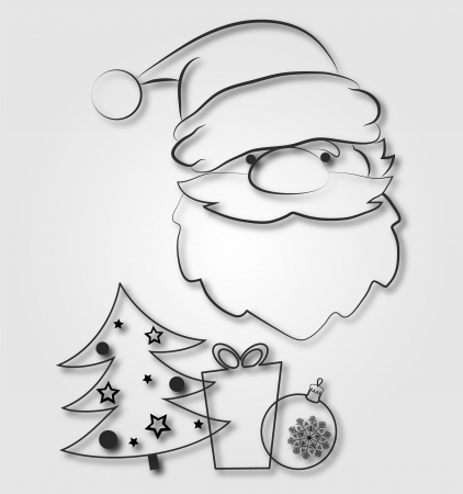 silhouette of Santa, Christmas tree, gift and toy Stock Vector - 16278736
