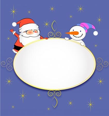 Santa and Snowman Greeting Card Stock Vector - 16525309