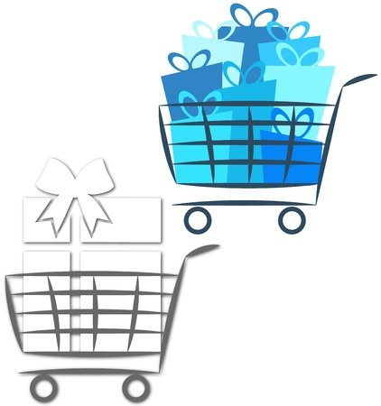 logo for the sale of the business, the cart and gifts Stock Vector - 16583027