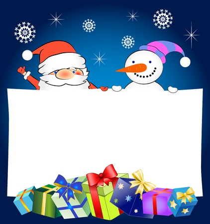 Christmas greeting card with Santa Claus and snowman Vector