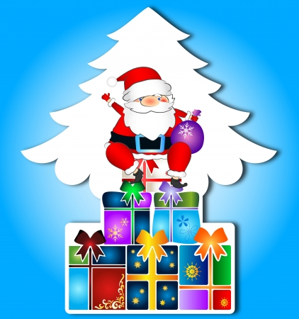 Santa and gifts, Christmas card Stock Vector - 16664612