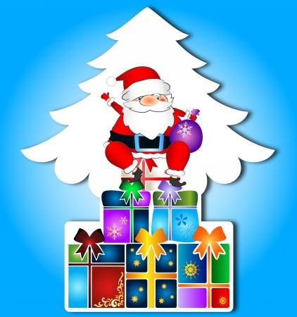 Santa and gifts, Christmas card Stock Vector - 16664612