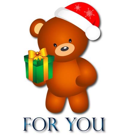 osos navideños: Oso con regalo de Navidad para ti