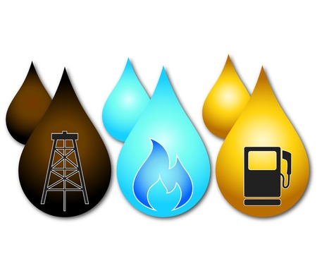 Oil and gas: drop of gasoline, oil and gas, the design of business