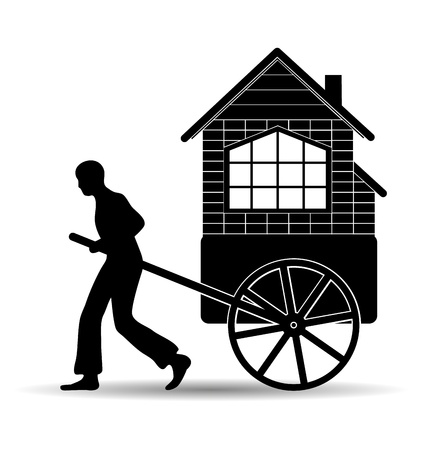 man pulls a cart with a house Stock Vector - 16978420
