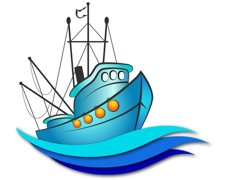 fishing vessel design for business Vector