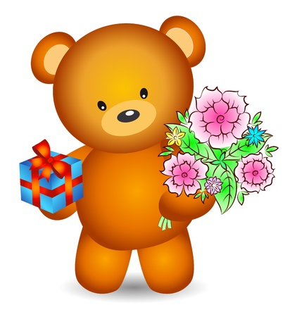 greeting card with flowers and teddy bear gifts Stock Vector - 16978426