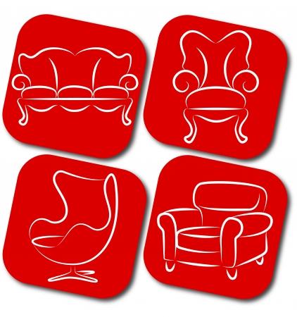 red couch: mobili per affari, sedia, divano Vettoriali
