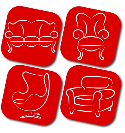 pieces of furniture: pieces of furniture for business, chair, sofa Illustration