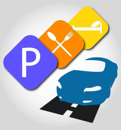 car parking: road signs for business, parking, lunch