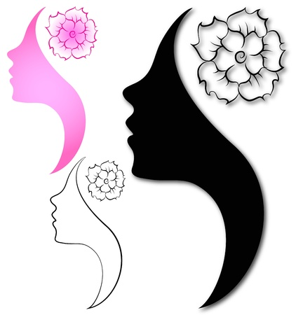 Profile of beautiful girl with a flower Vector