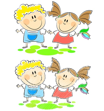 scribbling: boy and girl holding hands, drawing and scribbling