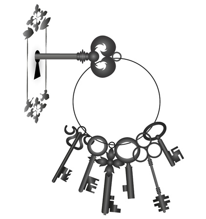 a bunch of keys and keyhole, silhouette