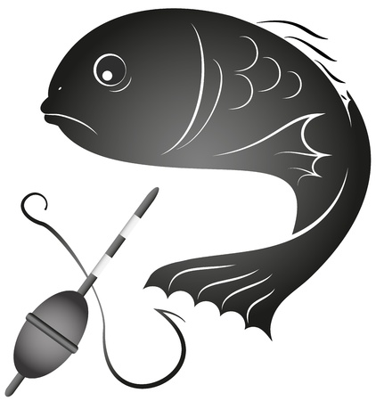 design for the fishing business, silhouette Vector