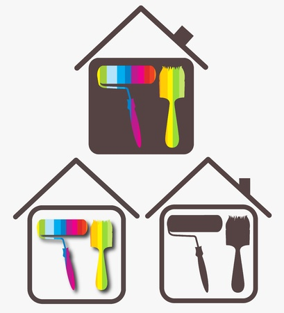 design sketch for a business painting houses Vector