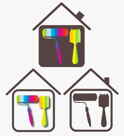 roller brush: design sketch for a business painting houses Illustration