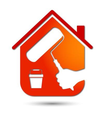 ontwerp zakelijke schilderen huizen, embleem Vector Illustratie