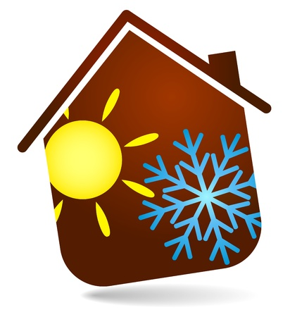 home heating: air conditioning in the house, the design of business Illustration