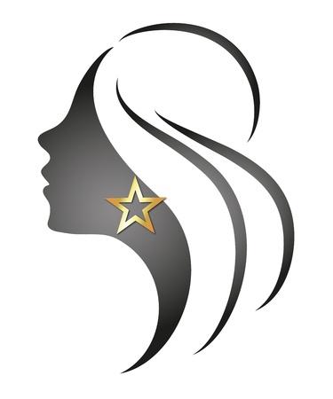 fermo: bella ragazza con un profilo di stella Vettoriali