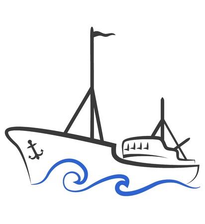 logo poisson: conception de navires de p�che d'affaires,