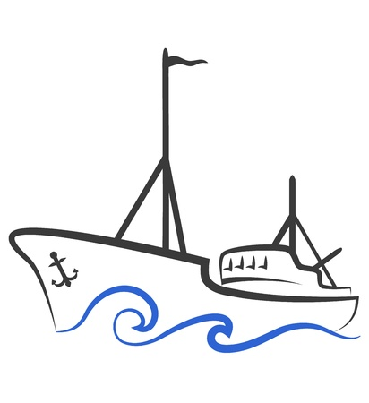 design for business, fishing vessel Vector