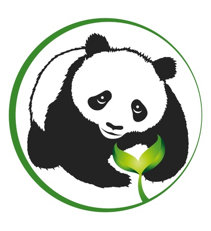 silhouette panda and green sprout, eco emblem Vector