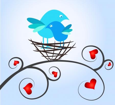 nido de pajaros: amo a los pájaros en el nido para Día de San Valentín Vectores